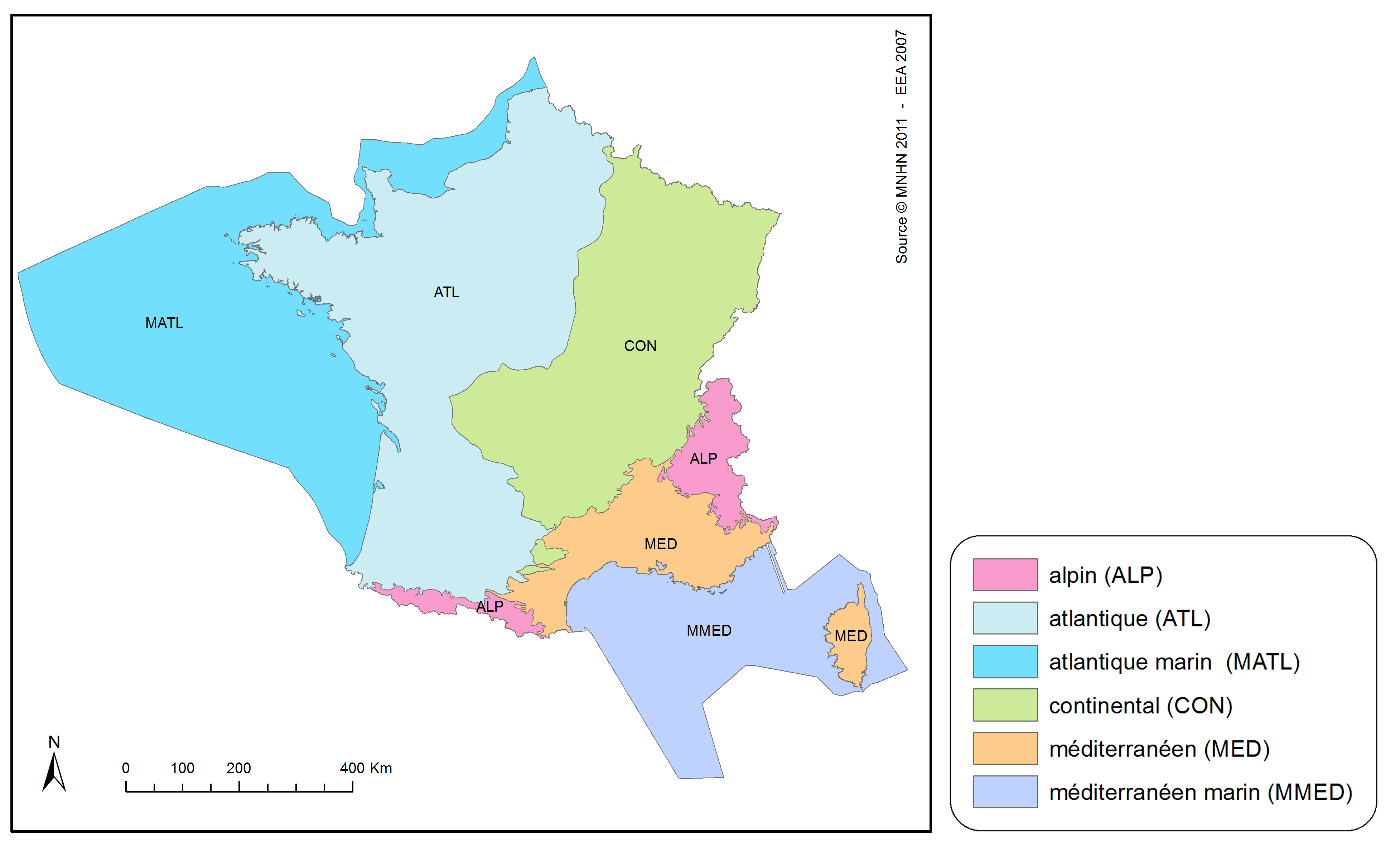 <stong>Figure 2: Biogeographical regions for assessments of conservation status in France </strong>