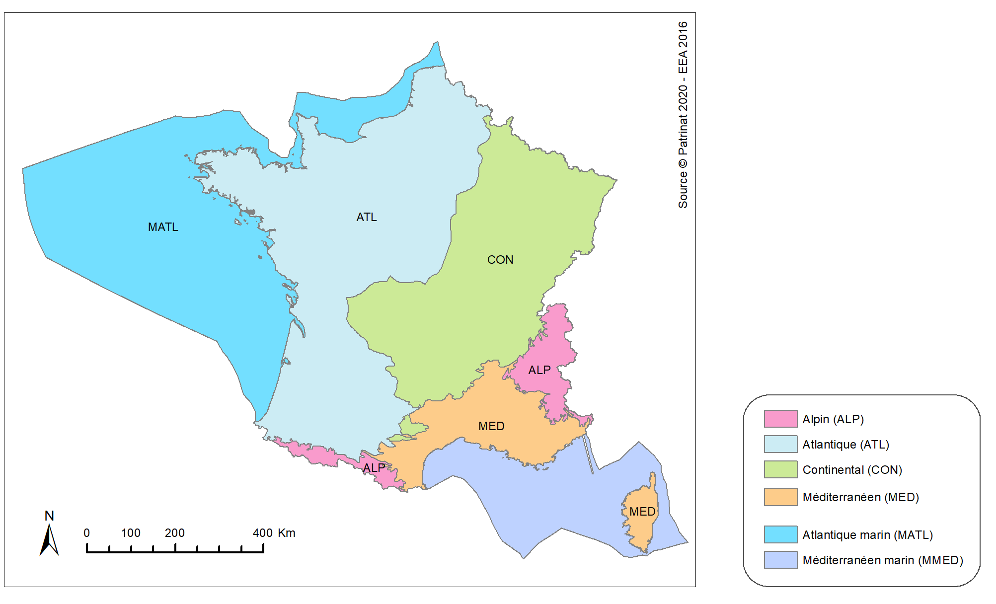 Figure 2: Biogeographical regions for assessments of conservation status in France