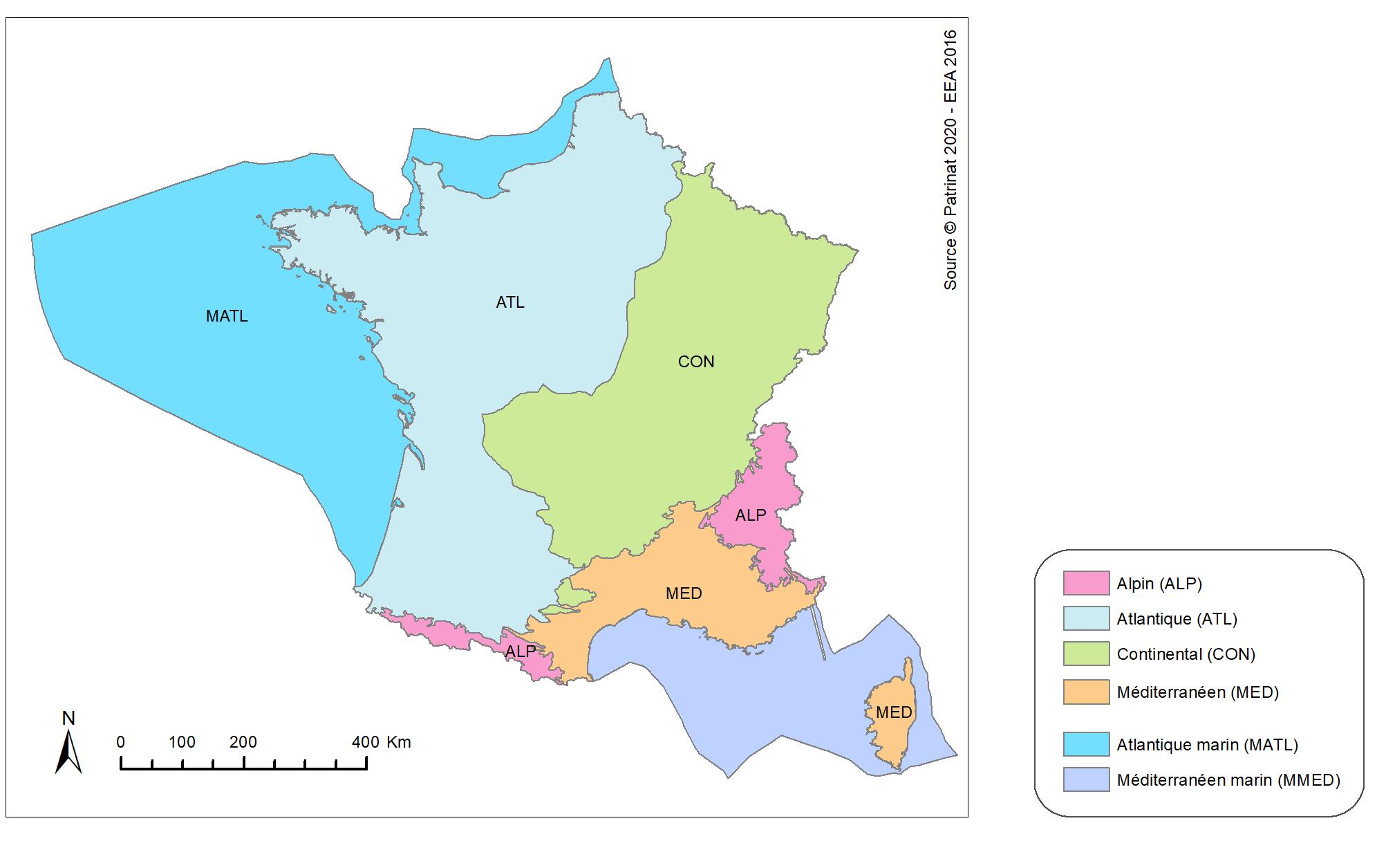 Figure 2 : Les régions biogéographiques pour l'évaluation de l'état de conservation en France