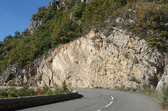 Un signalement type pour Vigie-Terre : des travaux routiers ont rafraichi la roche permettant une nouvelle observation © Grégoire Egoroff