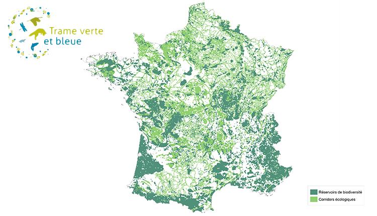 Carte de la Trame verte et bleue © INPN
