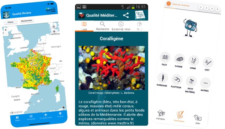 Applications Qualité Rivière - Qualité Méditerranée - Fish and Click